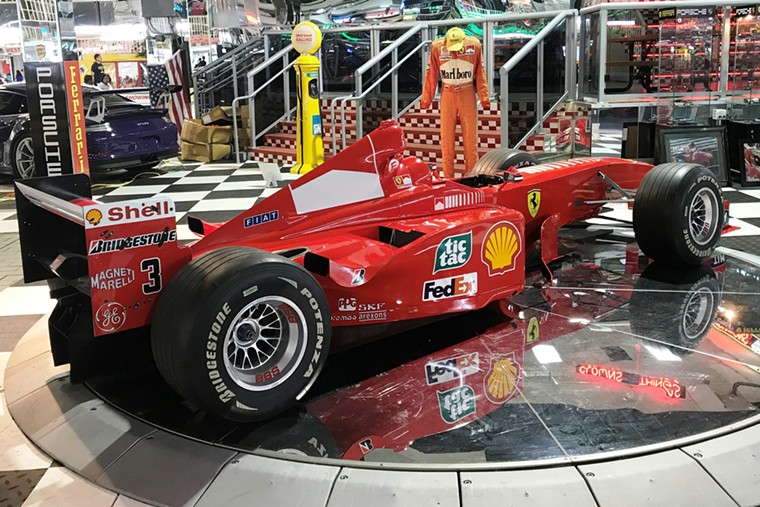 Michael Schumacher's Scuderia Ferrari Marlboro F2001, valued at more than $7.5 million, is among the highlights of Swap Shop's car museum. - PHOTO BY WILLIAM FLOOD